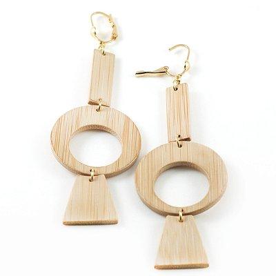 Equilíbrio - Brinco artesanal em bambu e ouro - Arte do Mato