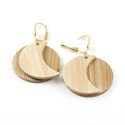 Wedjat - Brinco artesanal em bambu e ouro - Arte do Mato