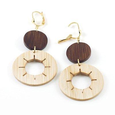 Udjat - Brinco artesanal em bambu e ouro - Arte do Mato