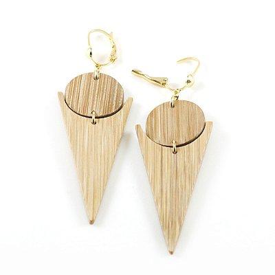 Prisma - Brinco artesanal em bambu e ouro - Arte do Mato