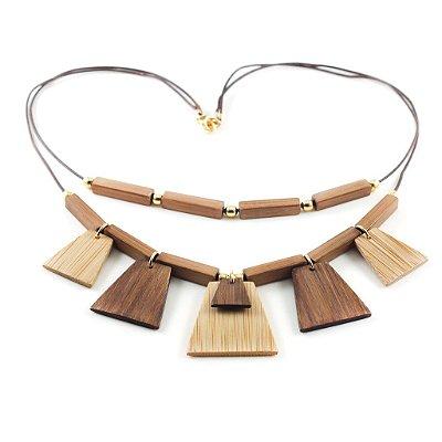 Egito - Colar artesanal em bambu e ouro - Arte do Mato