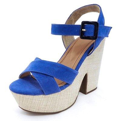 Sandália Plataforma Spring Azul Royal