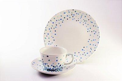 Conjunto xícara - Chuva azul