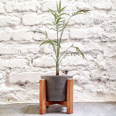 Vaso Básico Liso de Concreto + Suporte Madeira