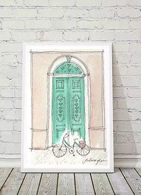 Ilustração Porta Antiga - Verde