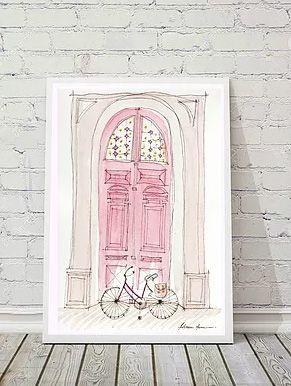 Ilustração Porta Antiga - rosa