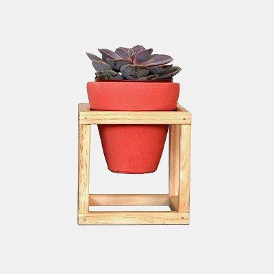 Suporte de Madeira + Vaso cerâmica Nº 2