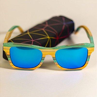 Óculos de Sol de Madeira Wayfarer Arara-Canidé