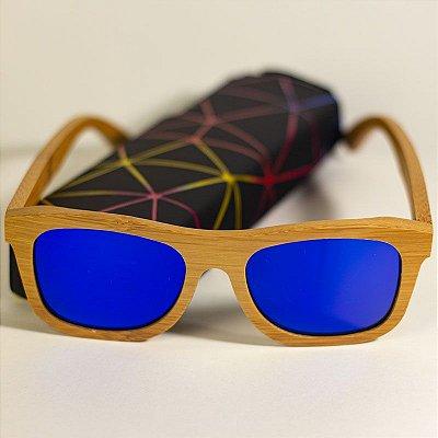 Óculos de Sol de Madeira Wayfarer Abelha Azul
