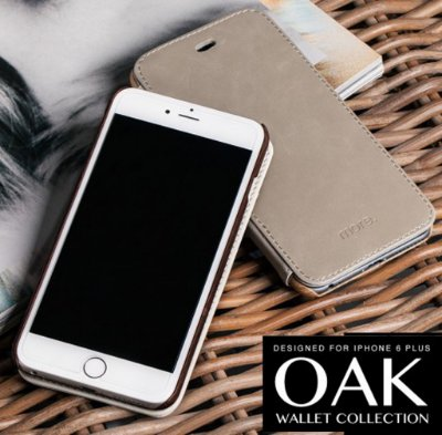OAK WALLET para iPhone 6s Plus e iPhone 6 Plus | Capa com Flip em Couro