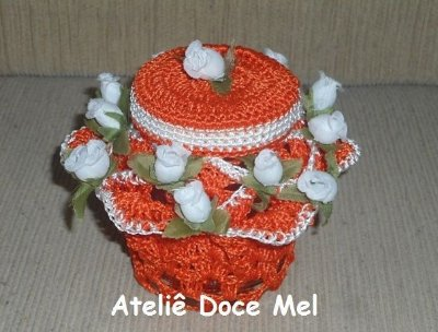 Pote de crochet com flores (cor: Laranja)