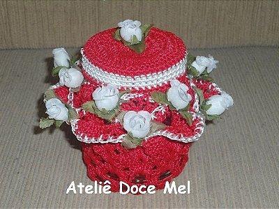 Pote de crochet com flores (cor: Vermelho)