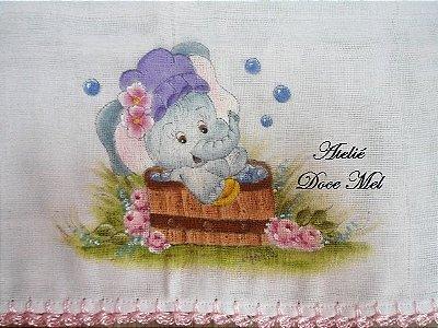 Fralda de Boca para Meninas (Elefantinha no banho)