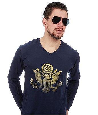 Camiseta Manga Longa Eua Justice United States Gold Line
