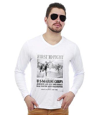 Camiseta Manga Longa To Fight U.S Marines Corps