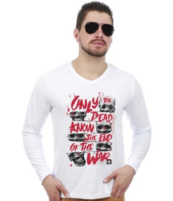 Camiseta Militar Manga Longa Only Dead Know The End Of The War