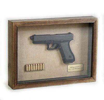 Quadro Retro Pistola Glock 17 Calibre 9mm Parabellum