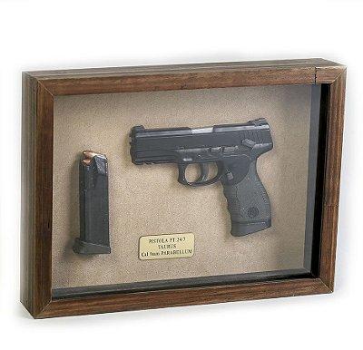 Quadro Retro Pistola PT 24/7 Taurus Calibre 9mm Parabellum
