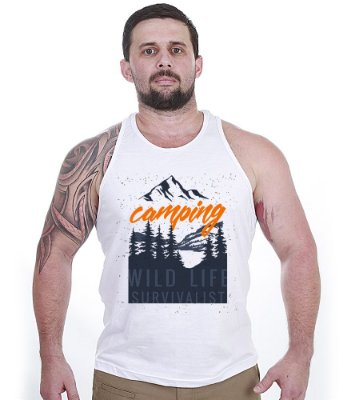 Camiseta Regata Outdoor Camping Wild Life Survivalist