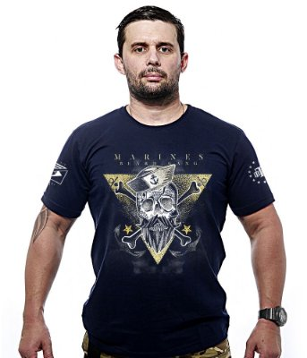 Camiseta Militar Marines Beard Gang Gold Line