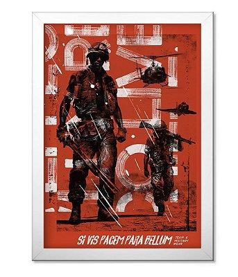 Poster Militar com Moldura Si Vis Pacem para Bellum Red