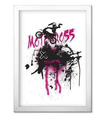 Poster com Moldura Motocross Off Road Freestyle