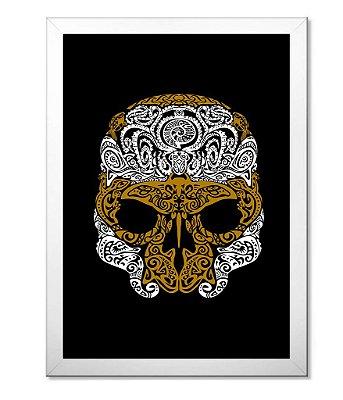 Poster com Moldura Outdoor Golden Skull