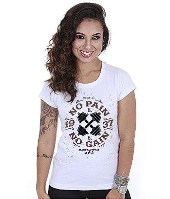 Camiseta Academia Baby Look Feminina No Pain No Gain