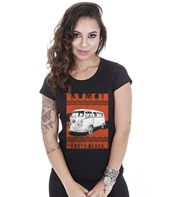 Camiseta Old Cars Baby Look Feminina Kombi