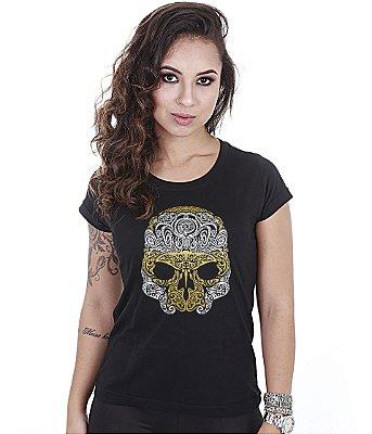 Camiseta Outdoor Baby Look Feminina Skull Marine