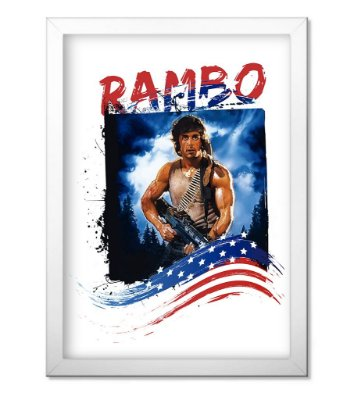 Poster Militar com Moldura Rambo