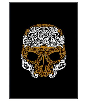 Poster Minimalista Outdoor Golden Skull
