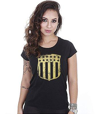 Camiseta Militar Baby Look Feminina EUA Gold
