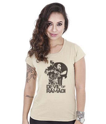 Camiseta Militar Baby Look Feminina Devil Of Ramadi