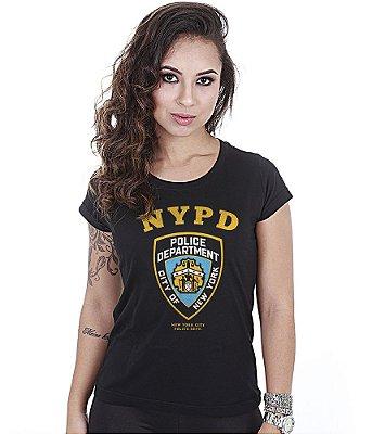 Camiseta Militar Baby Look Feminina NYPD Estampa Frente e Costas