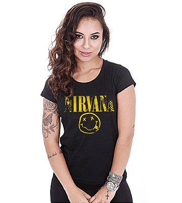 Camiseta Baby Look Feminina Banda de Rock Nirvana