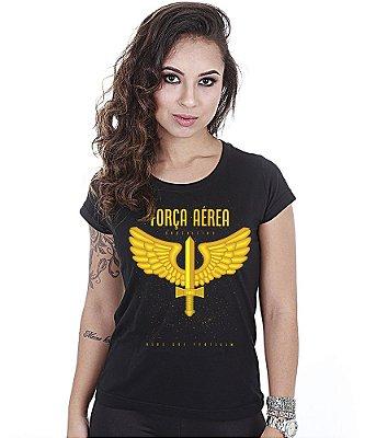 Camiseta Militar Baby Look Feminina Força Aérea Brasileira