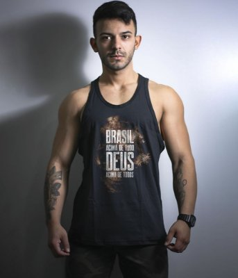 Camiseta Regata Militar Brasil Acima de Tudo