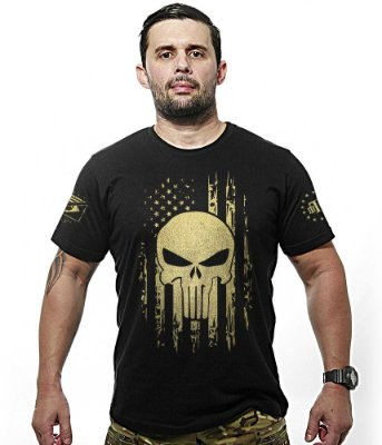 Camiseta Militar EUA Punisher Gold Line