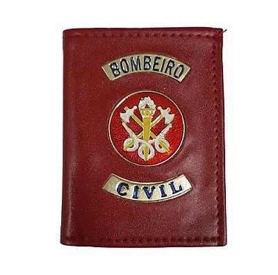 Carteira Bombeiro Civil Com Porta Funcional e Distintivo Vermelha