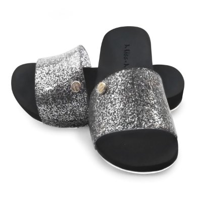 Chinelo Slide Bright Kids Miss-Miss | Prata Gliter