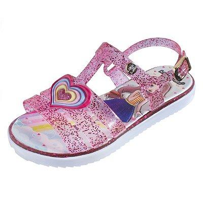 Sandália Infantil Sola Baixa Heart 145 - Rosa Glitter