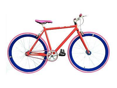 Bicicleta Fixa ColorBikes Vermelha e Rosa