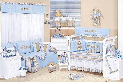 Enxoval Quarto Completo Baby Azul Enxoval de Bebê 100% algodão