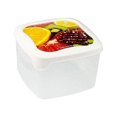 Pote Quadrado Decorado Frutas Plasvale - 1,4L