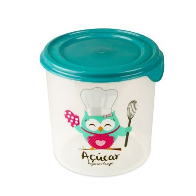 Pote Redondo Decorado Coruja Chef Para açúcar Plasvale - 2,3L