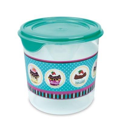Pote Redondo Decorado Cupcake  Plasvale- 1,4L