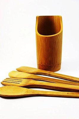 Kit Utensílios em Bambu (5 pcs)