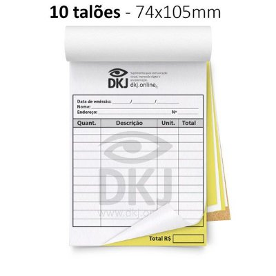 10 talões 74x105 mm - 1º via branca 2º via amarela 53g - blocagem, serrilha e grampo