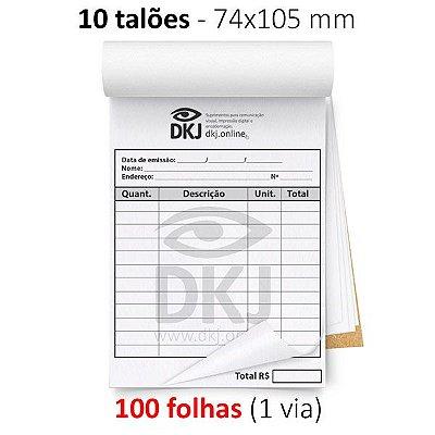 10 talões 74x105 mm - 1 via branca 75g ou 90g - blocagem, serrilha e grampo